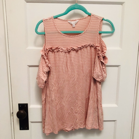 LC Lauren Conrad Tops - LC Lauren Conrad striped cold shoulder top XL F33